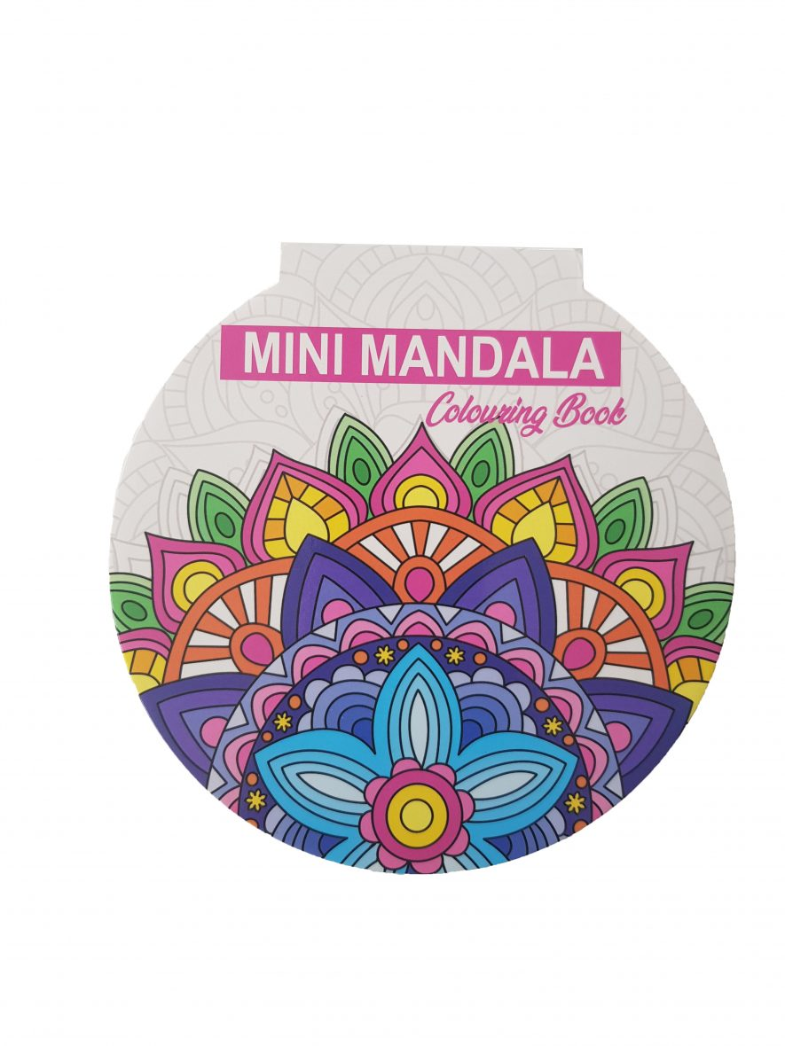Mini Mandala Colouring Book – Rond – Roze voorkant