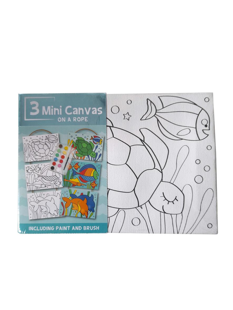 Mini Canvas Zee – 3 Verschillende Canvassen op een Touwtje