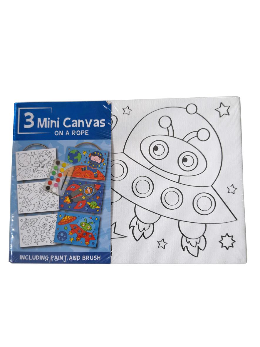 Mini Canvas Ruimte – 3 Verschillende Canvassen op een Touwtje