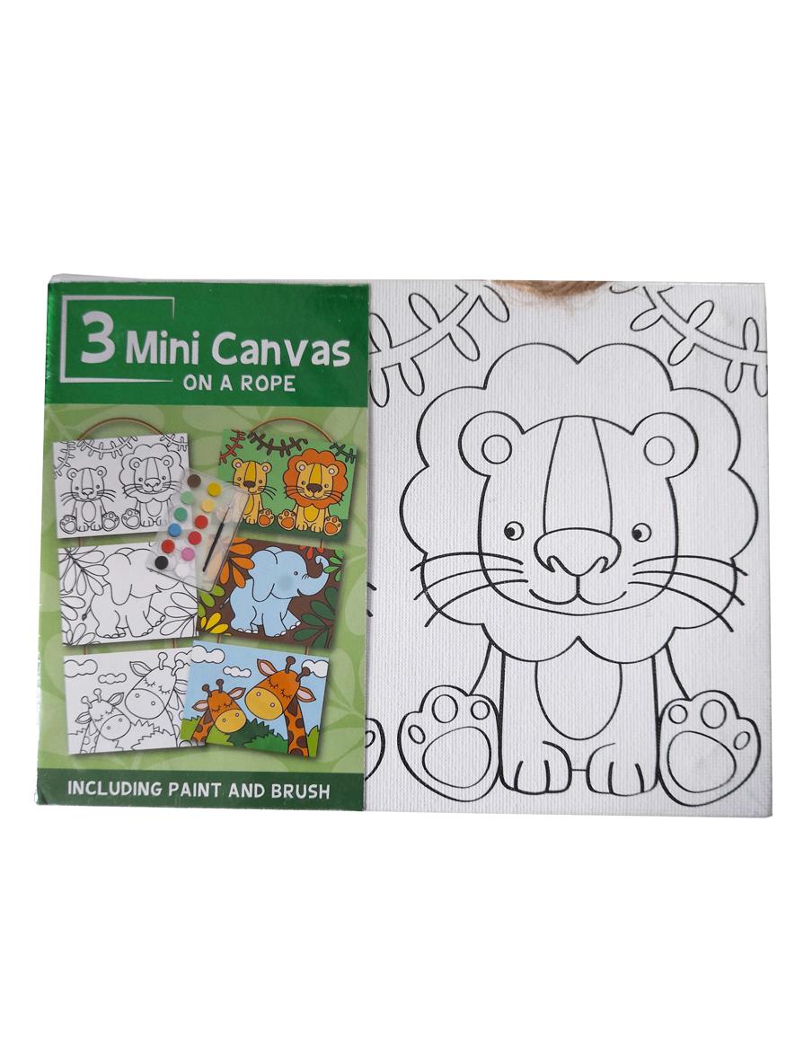 Mini Canvas Jungle – 3 Verschillende Canvassen op een Touwtje
