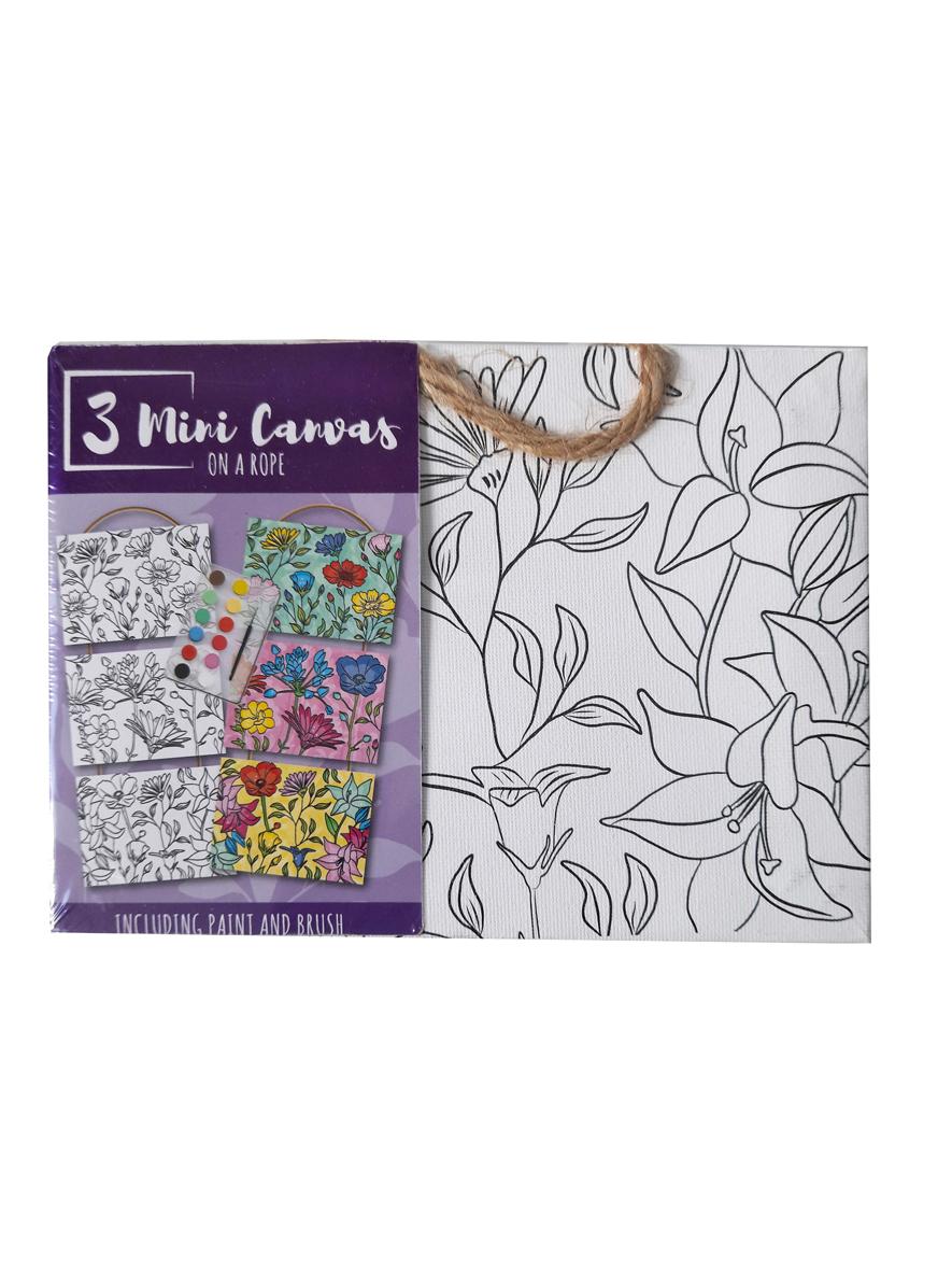 Mini Canvas Bloemen – 'Volwassene' – 3 Canvassen op een Touwtje