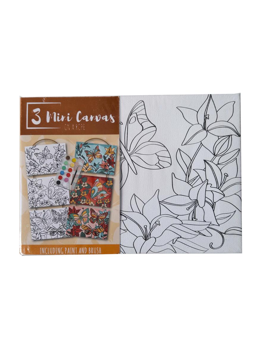 Mini Canvas Vlinders – 'Volwassene' – 3 Canvassen op een Touwtje