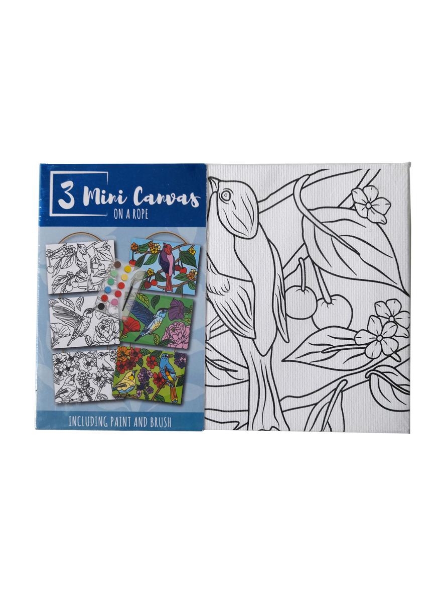 Mini Canvas Vogels – 'Volwassene' – 3 Canvassen op een Touwtje