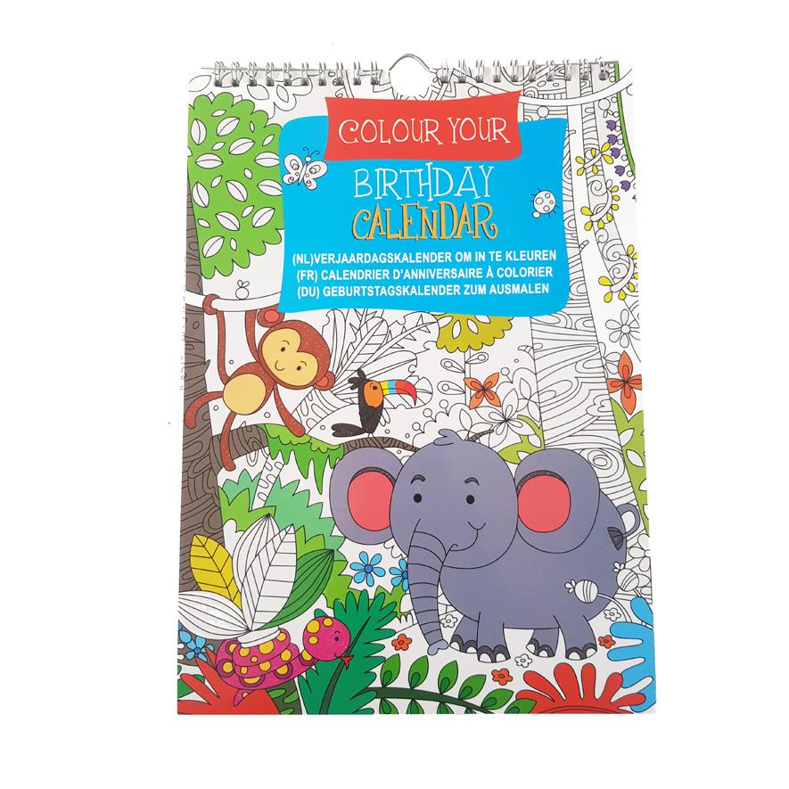 Verjaardagkalender Kleurboek Dieren – 'Colour your own Birthday Calendar'
