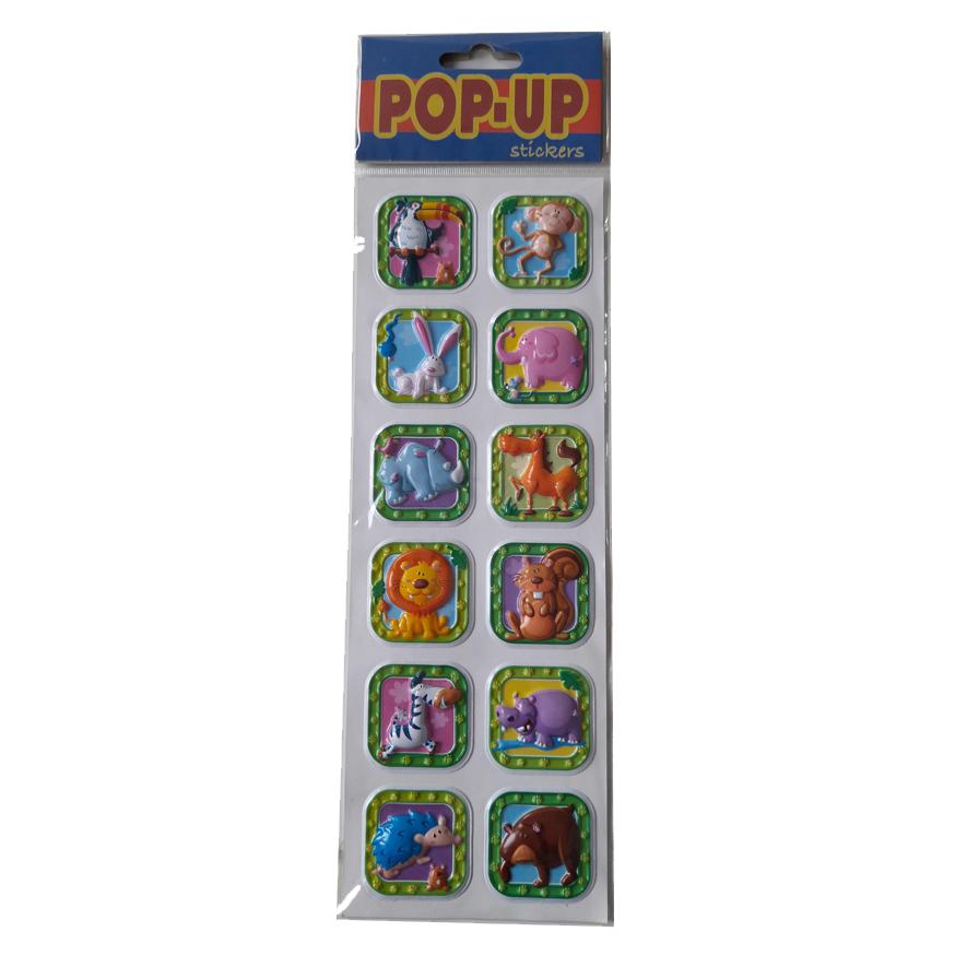 12 Pop-Up Dieren Stickers